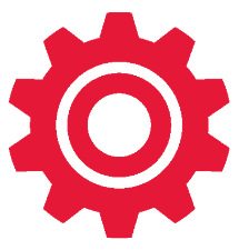 Business Operations Consulting Services in Connecticut-Red Gear Cog Icon