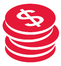 Sales Consulting Services-in Connecticut Red Stacked Coins Icon