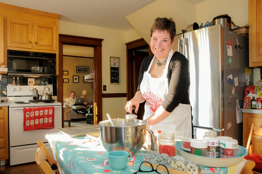 Cindy Donaldson Marketing Consultant in Connecticut - Cooking in her home kitchen