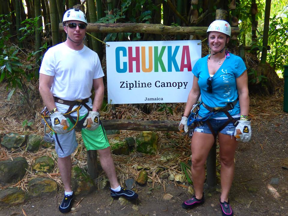 Jenn Donovan Operations Consultant in Connecticut-Ziplining with her Husband in Jamaica